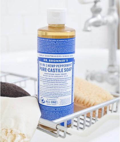 Dr. Bronner's - Savon Liquide Pur Végétal Menthe Poivrée naturel douche bain vegan cosmétique bio clean grand flacon