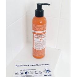 Dr. Bronner's Lotion corps Hydratant végétal Orange Lavande végétal naturel cosmétique recyclable flacon pompe lait