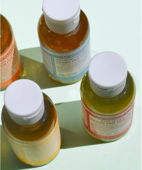 Dr. Bronner's - Savon Liquide bio Pur Végétal mini Tea tree anti-bactérien mains lavage hygiène randonnée camping acne