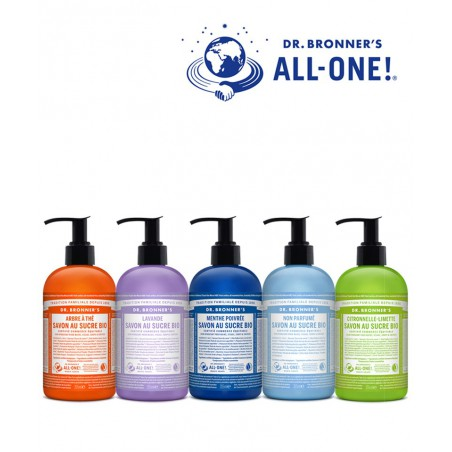 Dr. Bronner's savons bio au sucre hydratants flacon pompe All One végétal naturel