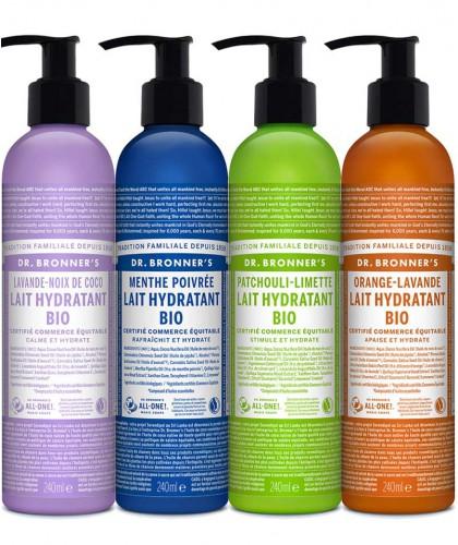 Dr. Bronner's Lotion corps Hydratant bio végétal cosmétique soin naturel flacon pompe recyclable parfumé