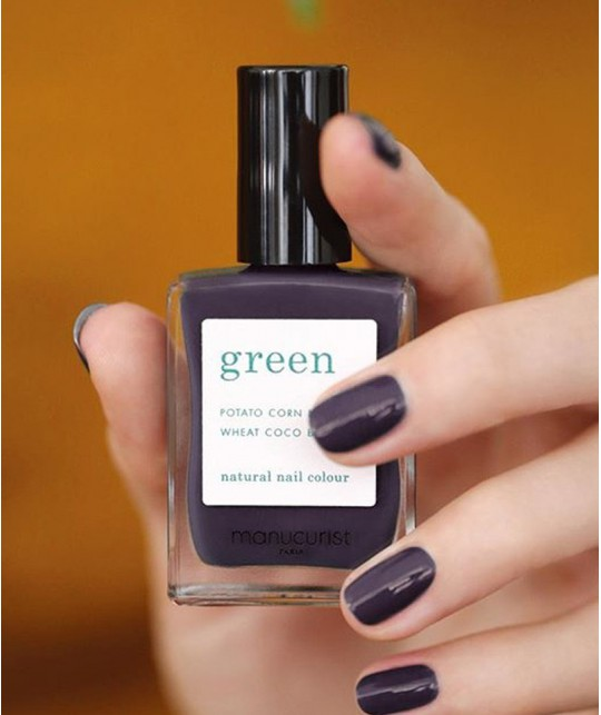 Vernis GREEN MANUCURIST Paris - Queen of Night violet foncé naturel non-toxique manucure swatch
