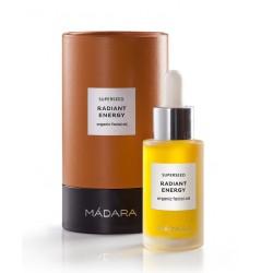 MADARA cosmétique bio Huile Visage Radiant Energy sérum  Superseed soin peau terne fatiguée sensible sèche plantes