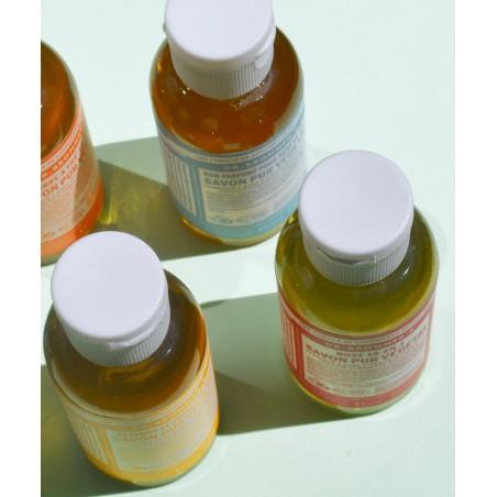 Dr. Bronner's Savon bio Pur Végétal liquide bio mini flacon voyage camping randonnée recyclable