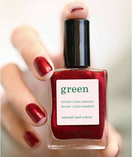 Manucurist  GREEN Red Hibiscus Nail Polish dark shimmery red swatch
