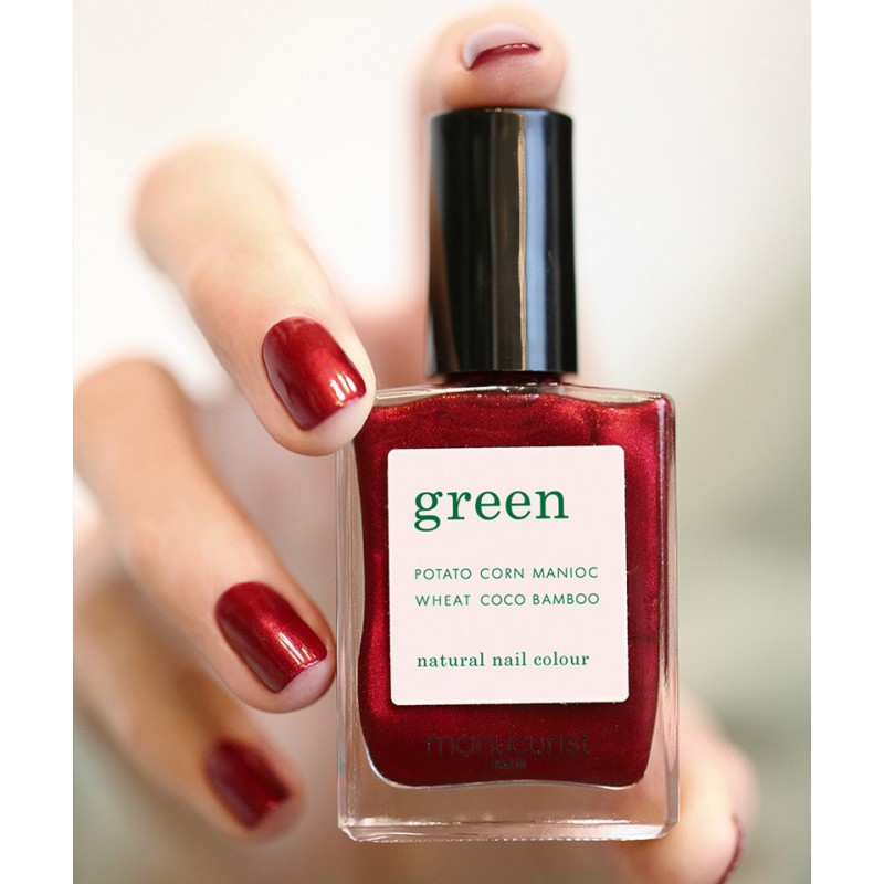 Manucurist Paris Vernis à Ongles Naturel Green Red Hibiscus rouge foncé irisé swatch manucure Noël christmas