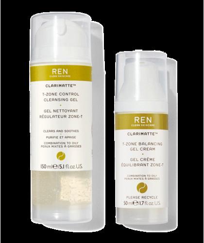 REN Duo Clarimatte™ Gel Nettoyant et Crème Régulateur Zone-T