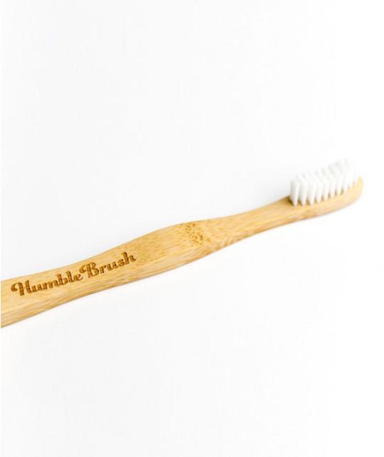 Brosse à Dents en Bambou Humble Brush recyclable Adulte - blanc poils souples Vegan Cruelty free