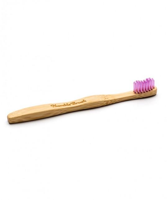 Humble Brush Kids - pink Bamboo Toothbrush vegan cruelty free nylon bristles ultrasoft
