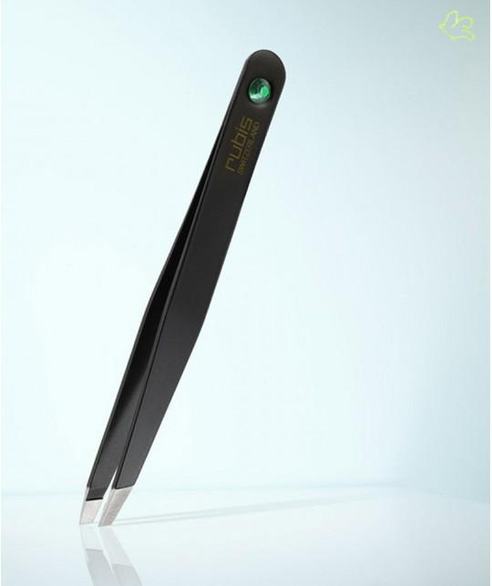 RUBIS Switzerland Pince à Épiler classique Strass Swarovski Emeraude noir mors biais sourcils beauté vert