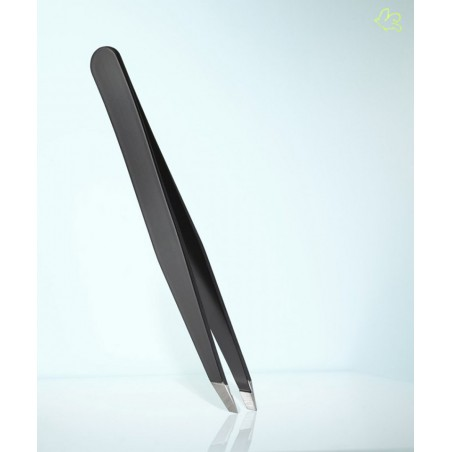 RUBIS Switzerland Tweezers Classic - Swarovski Black Emerald slanted tips Green beauty eyebrows cosmetics professional