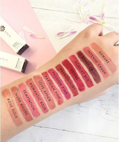 Lily Lolo Rouge à Lèvres Naturel couleurs teintes choix palette collection swatch texture végétal maquillage minéral