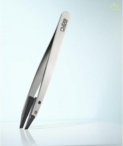 RUBIS Switzerland Tweezers Classic Techno Slanted tips - White Men beard hair Design