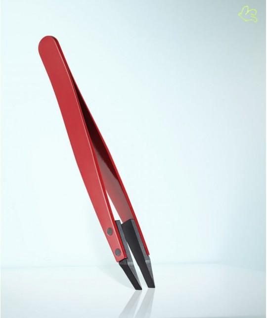 RUBIS Switzerland Pince à Épiler Classique Techno mors biais - Rouge Homme barbe poils high tech design