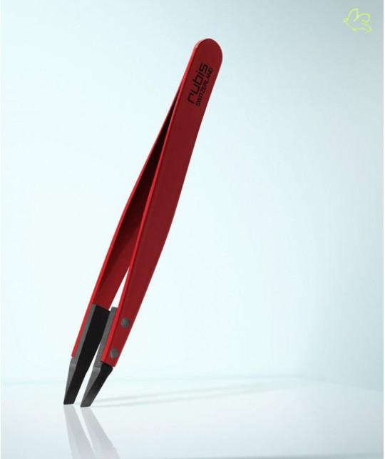 RUBIS Switzerland Pince à Épiler Classic Techno mors biais - Rouge Homme barbe poils high tech design