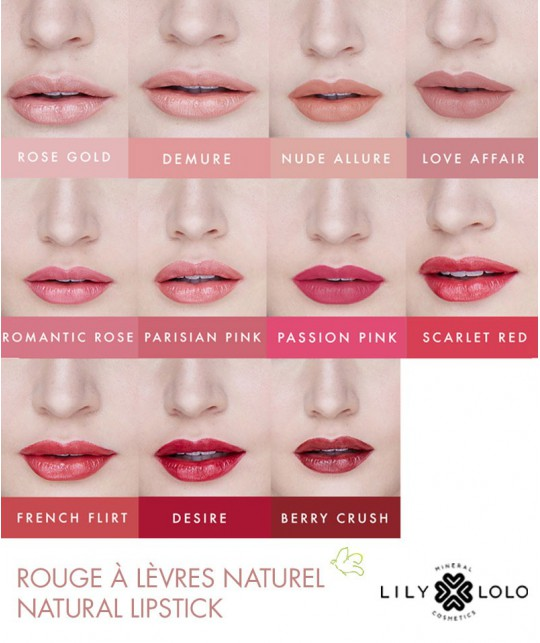 Lily Lolo Rouge à Lèvres Naturel Natural Lipstick swatch collection teinte