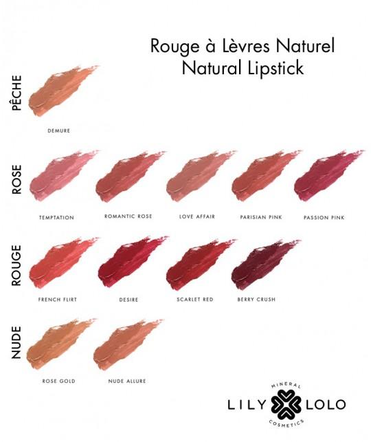 Rouge à Lèvres Naturel Lily Lolo swatch collection couleurs teintes maquillage minéral