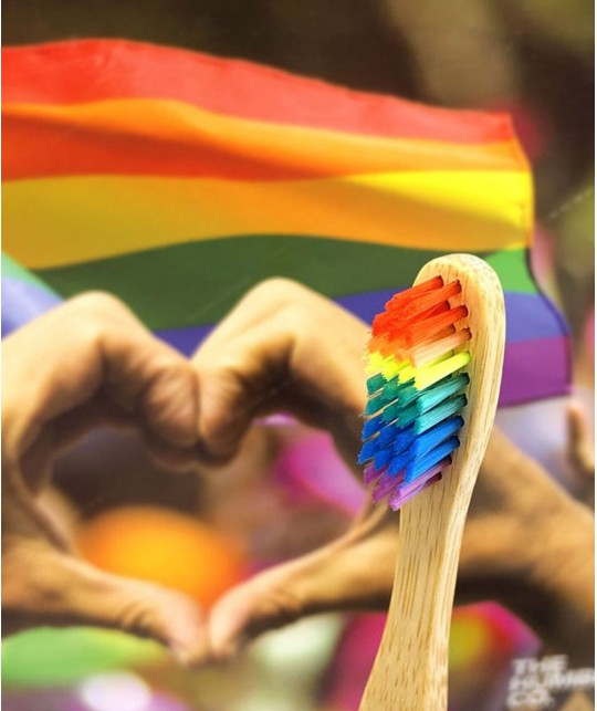 Humble Brush Bamboo Toothbrush Adult - rainbow Proud Edition