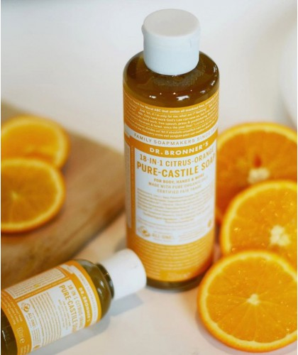 Dr. Bronner's Savon Liquide bio végétal Orange Citrus vegan 18 en 1 douche