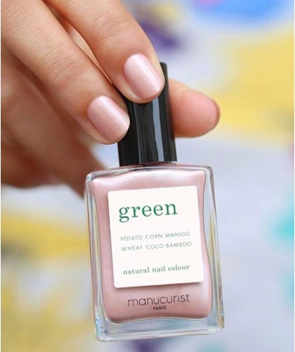 Manucurist Paris Nail Polish GREEN Carnation swatch light pearly pink
