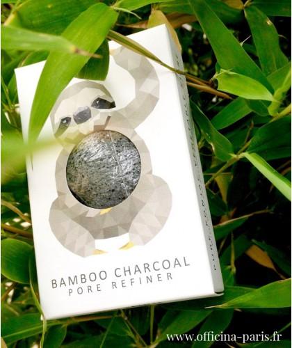 éponge Konjac noire mini Charbon de Bambou peau acnéique grasse vegan visage pore refiner