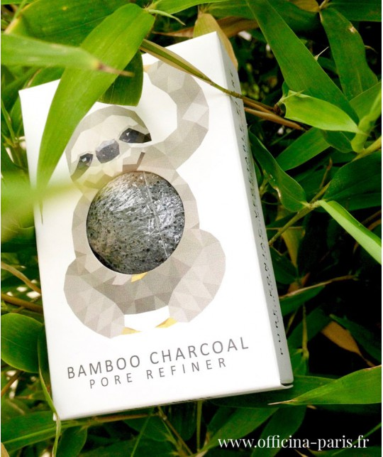Konjac Sponge Pore Refiner black Puff with Bamboo Charcoal vegan