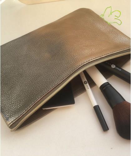JJDK Trousse Beauté or toilette maquillage grande pochette métallique