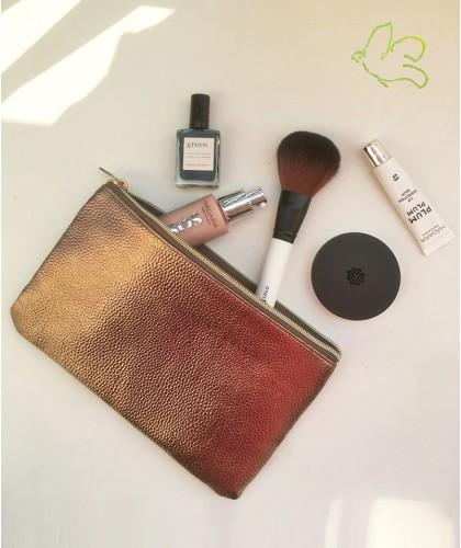 Trousse Beauté bronze JJDK - pochette maquillage moyen format métallique