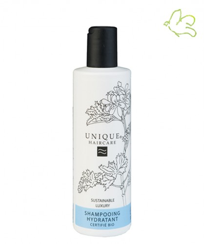 Unique Haircare - Shampooing Hydratant bio bleuet flacon 250ml maxi naturel cheveux brillance sec abimé