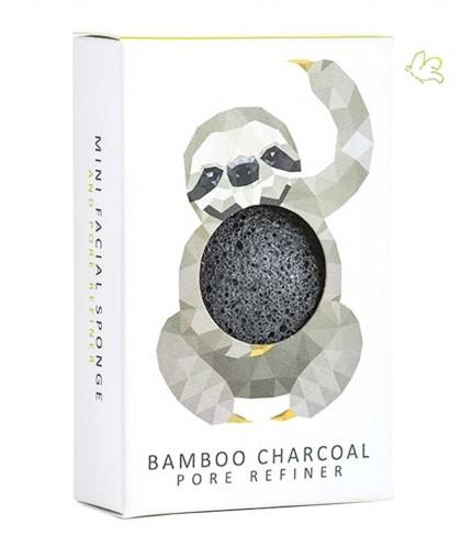 Konjac Sponge schwarz mini mit Bambuskohle Pore Refiner vegan Gesichtsschwamm