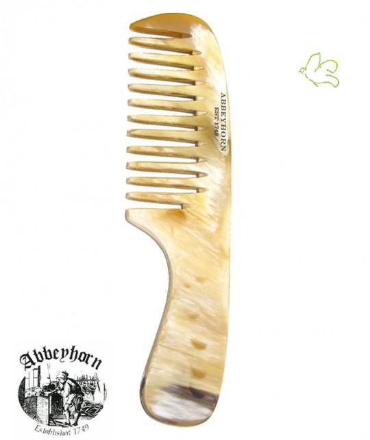Peigne en corne Abbeyhorn Démêloir en corne avec manche Denture large (19 cm)