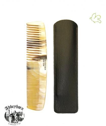 Peigne en corne Abbeyhorn étui cuir double denture  (13 cm) cheveux et barbe fait main