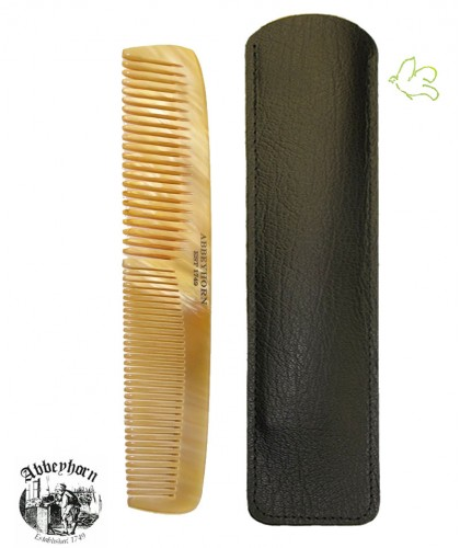 Horn Comb ABBEYHORN double tooth Leather Case 16,8 cm