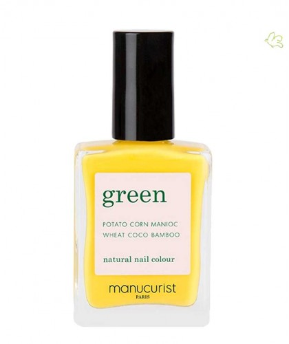 Manucurist Nail Polish GREEN Gold Button yellow