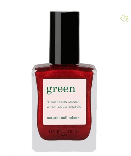 Manucurist Paris Vernis Green Red Hibiscus Ongles Naturel rouge foncé irisé vegan