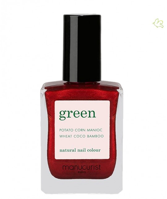 Manucurist  GREEN Red Hibiscus Nail Polish dark shimmery red