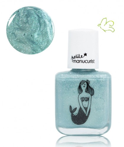 Petite Manucurist Kid Safe Nail Polish shimmery silver blue BONNIE the Mermaid