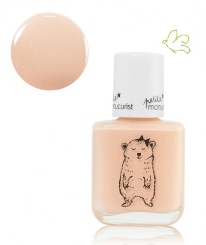 Petite Manucurist Kids Nail Polish shimmery pale pink JOY the Bear Cup non toxic