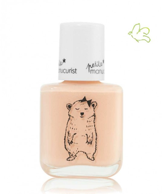 Kid Safe Nail Polish non toxic Petite Manucurist shimmery pale pink JOY the Bear Cup