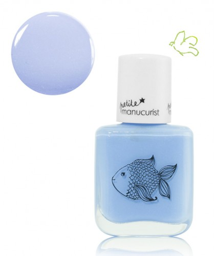 Petite Manucurist Kid Safe Nail Polish shimmery sky blue POMME the Fish