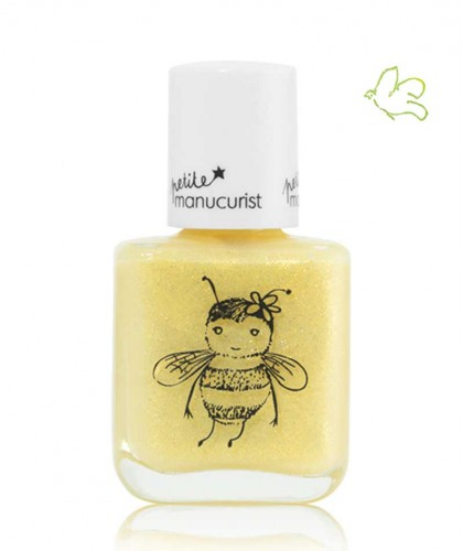 Kids Nail Polish non toxic Petite Manucurist PIA the Bee shimmery yellow gold