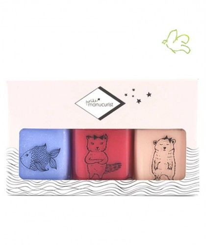 Petite Manucurist Box of 3 Kid Safe Nail Polishes POMME - KIKI - JOY Made in France