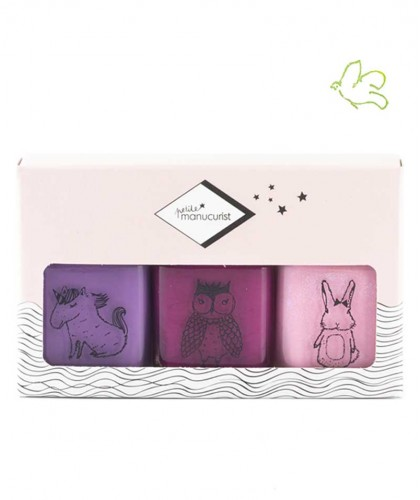 Petite MANUCURIST Box of 3 Kid Safe Nail Polishes LILY - URSULE - ROSIE