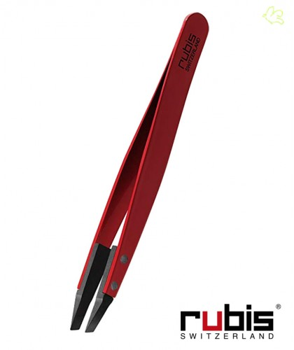 RUBIS Switzerland Tweezers Classic Techno Slanted tips - Red Men beard hair Design high tech