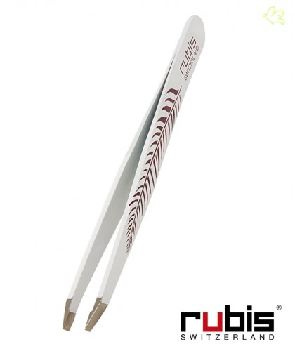 RUBIS Switzerland Tweezers Classic - Feather White slanted tips beauty eyebrows
