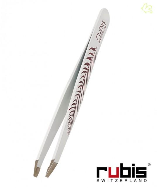 RUBIS Switzerland Pince à Épiler Classic - Blanc avec décor Plume mors biais sourcils beauté cosmétique