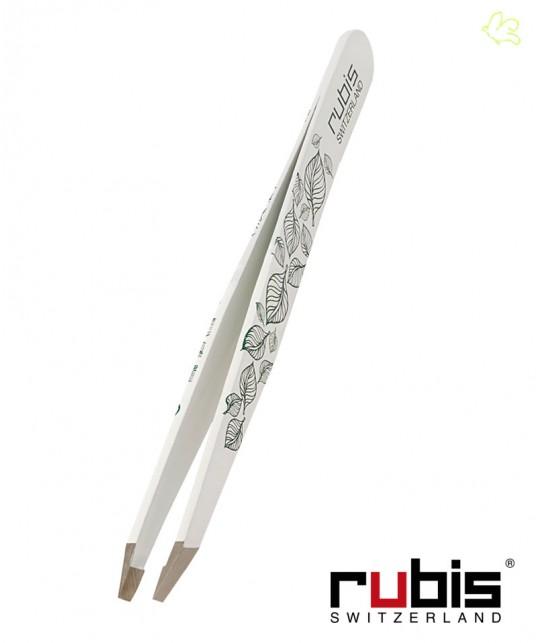 RUBIS Switzerland Pince à Épiler Classic - Blanc avec décor Feuilles mors biais beauté sourcils