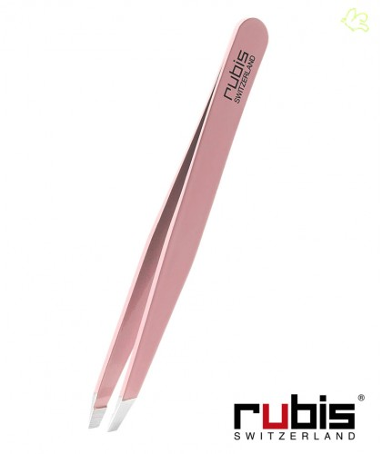 RUBIS Switzerland Tweezers Classic Slanted tips - Pink beauty eyebrows cosmetics