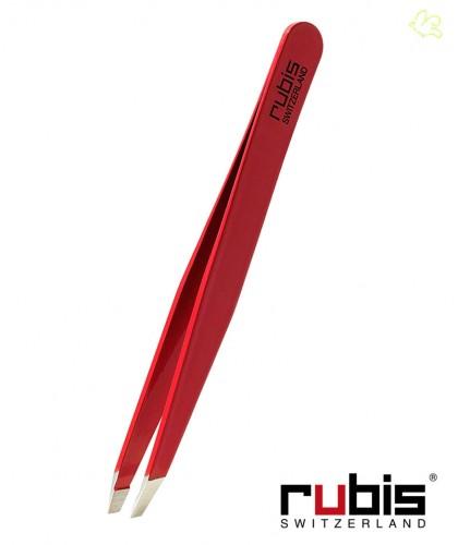 RUBIS Switzerland Pinzette Classic schräg - Rot klassisch professionnel Augenbrauen Epilieren Beauty Kosmetik