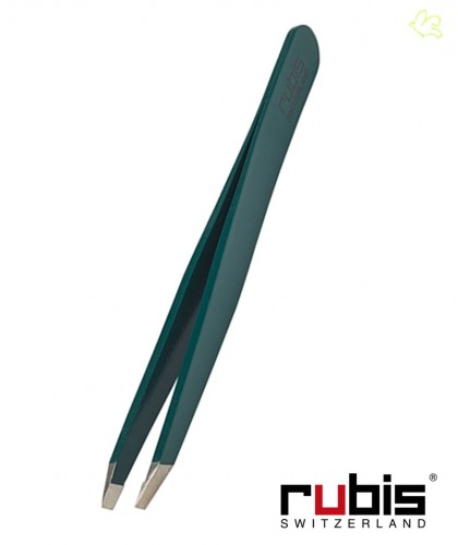 RUBIS Switzerland Tweezers Classic Slanted tips - Dark Green eyebrows cosmetics beauty